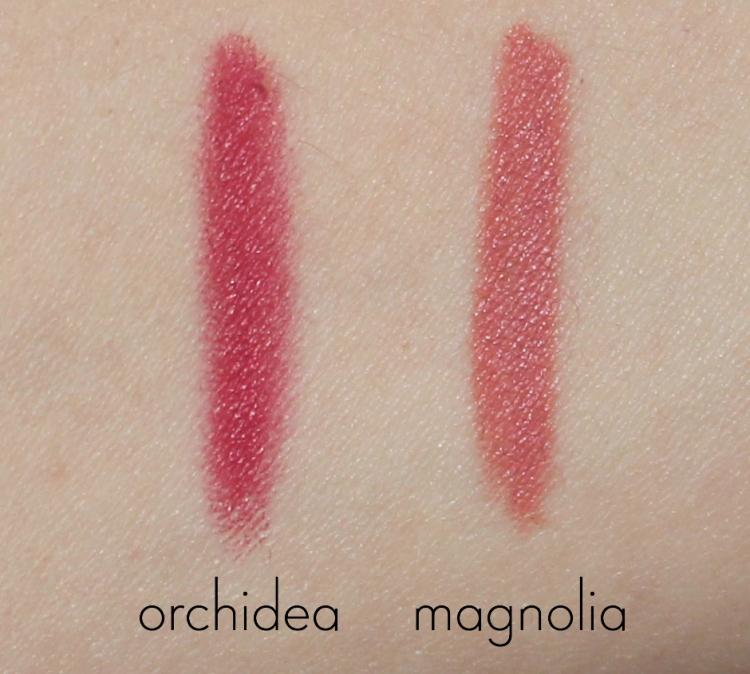 swatches pastello labbra orchidea e magnolia