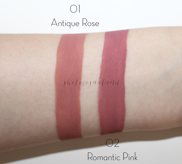 fluid-velvet-mat-lipstick-deborah-swatches-01-antique-rose-02-romantic-pink